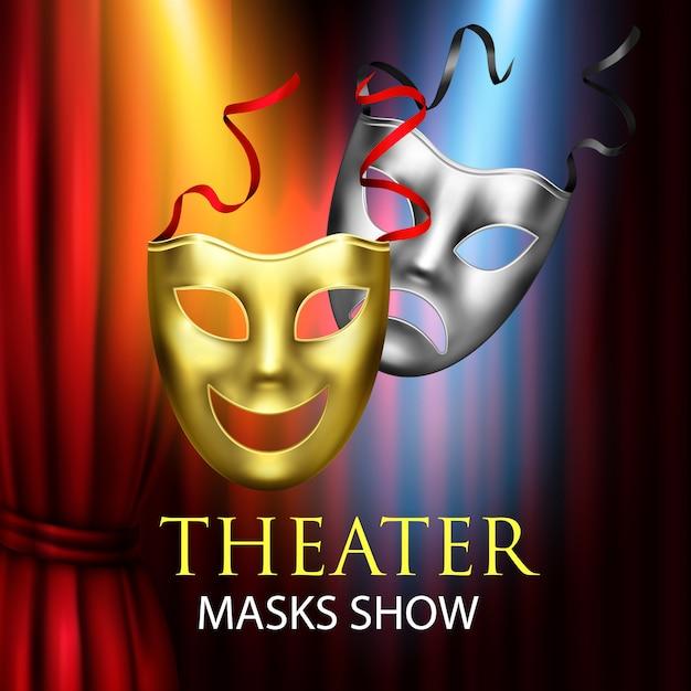 Composição de teatro de cortinas vermelhas Vetor grátis
