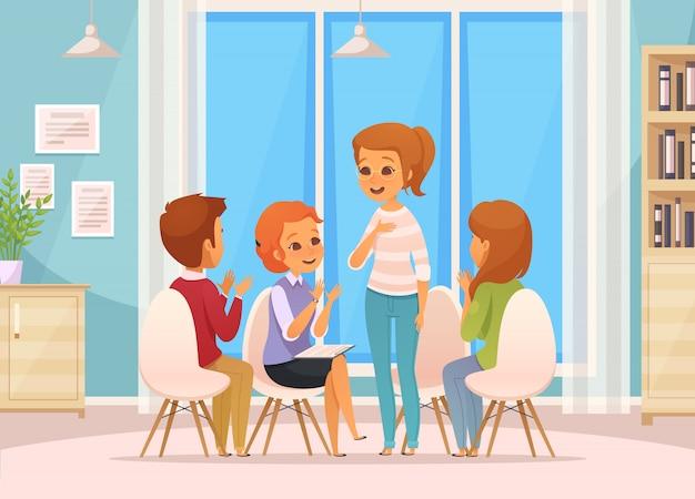 Composição de terapia de grupo colorido dos desenhos animados com quatro crianças fala sobre terapia de grupo Vetor grátis
