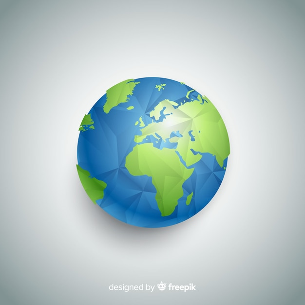Composição de terra moderna do planeta com estilo poligonal Vetor grátis