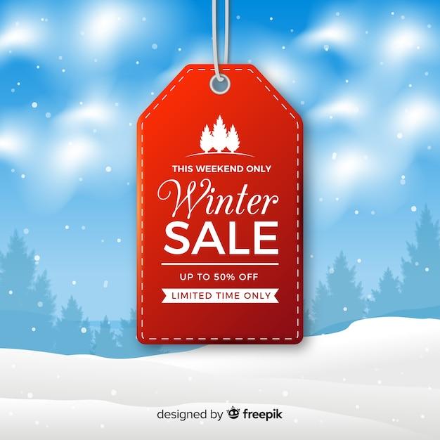 Composição de venda adorável inverno com design realista Vetor grátis