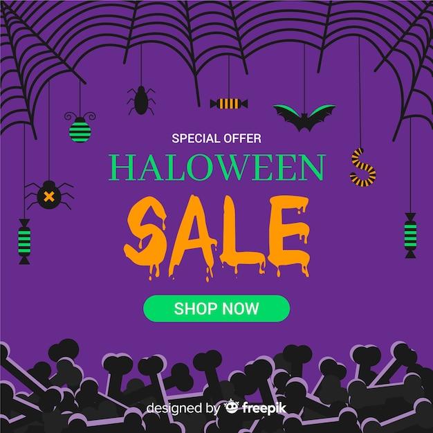 Composição de venda de halloween com design plano Vetor grátis