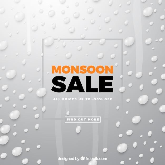 Composição de venda de monção com design realista Vetor grátis