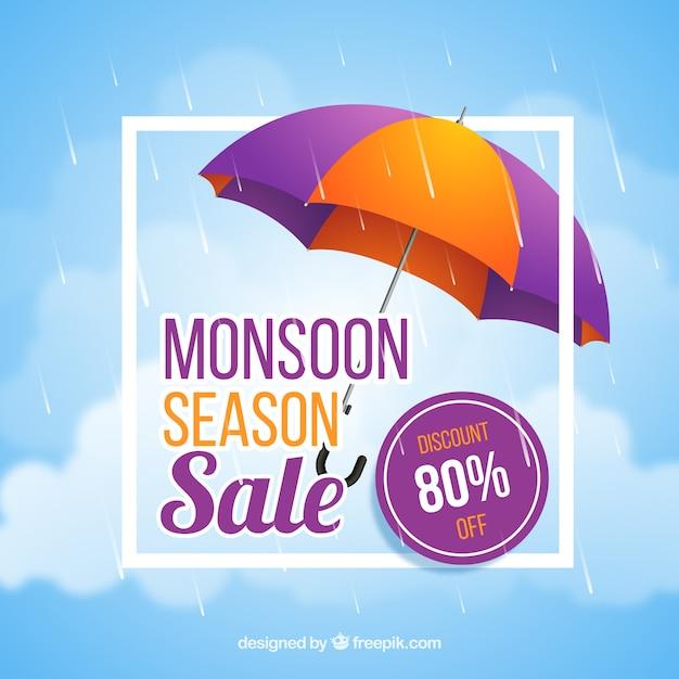 Composição de venda de temporada de monção com design realista Vetor grátis