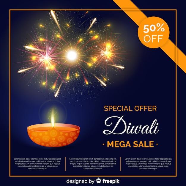 Composição de venda diwali colorido com design realista Vetor grátis