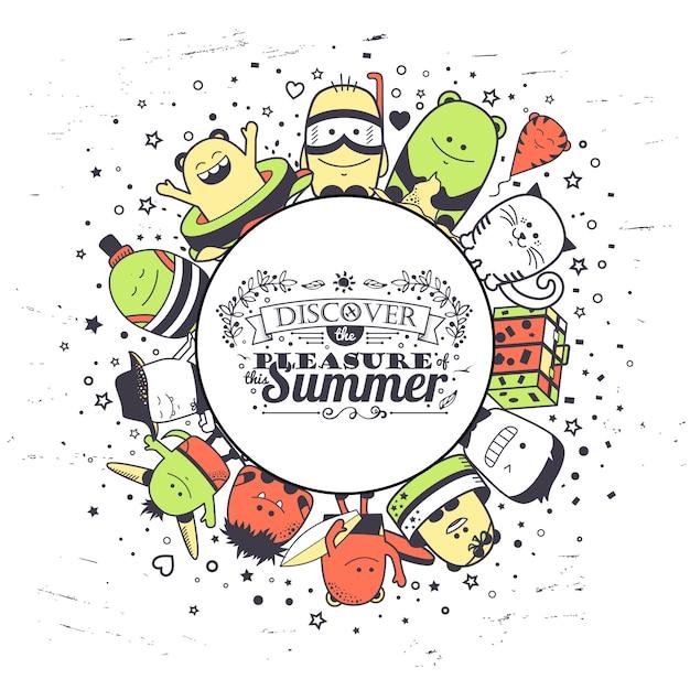 Composição de verão com monstros engraçados e letras de tipografia. desenhos animados coloridos personagens desenhados a mão. conjunto de criaturas incomuns coloridas Vetor Premium
