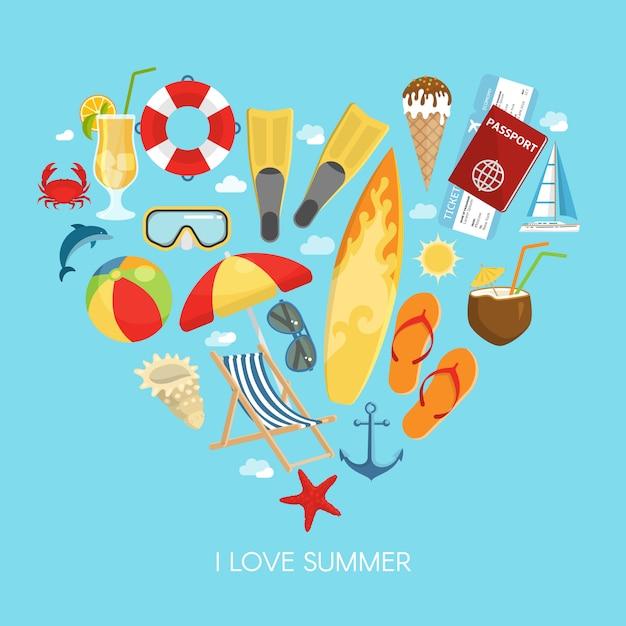 Composição de verão coração Vetor grátis