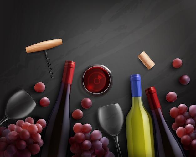 Composição de vinho com vinho tinto e branco e uvas Vetor grátis