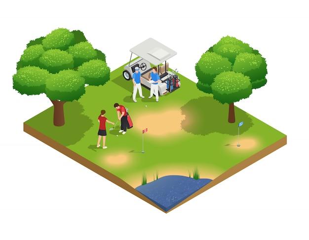 Composição de vista superior isométrica do campo de golfe verde com pessoas de golfe e de pé perto de carrinho Vetor grátis