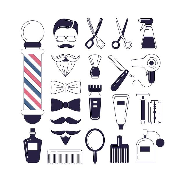 Composição do conjunto de ícones para a barbearia. Vetor grátis