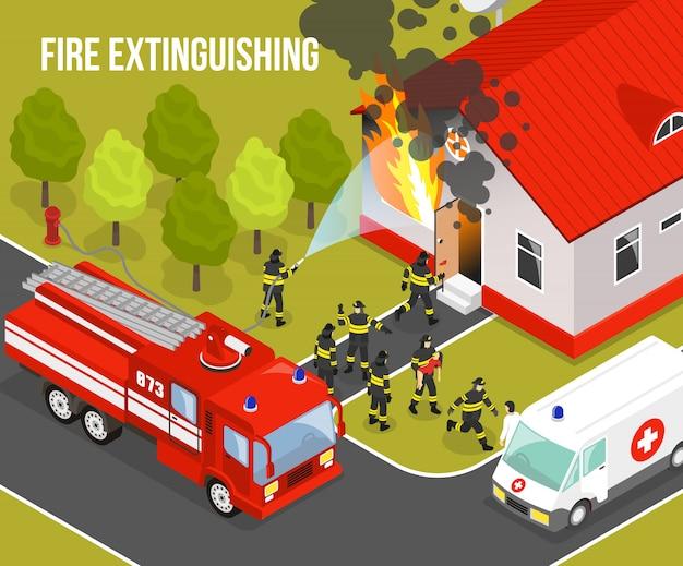 Composição do corpo de bombeiros Vetor grátis