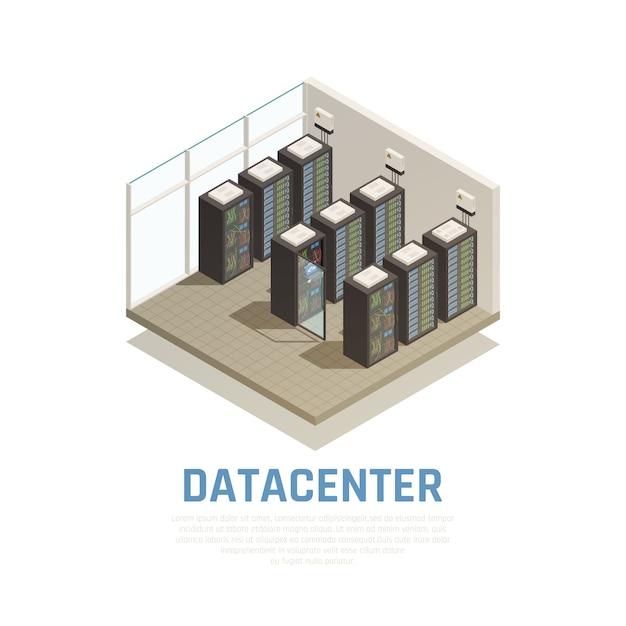 Composição do datacenter com símbolos de armazenamento de informações e banco de dados isométricos Vetor grátis