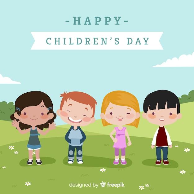 Composição do dia adorável para crianças com design plano Vetor Premium