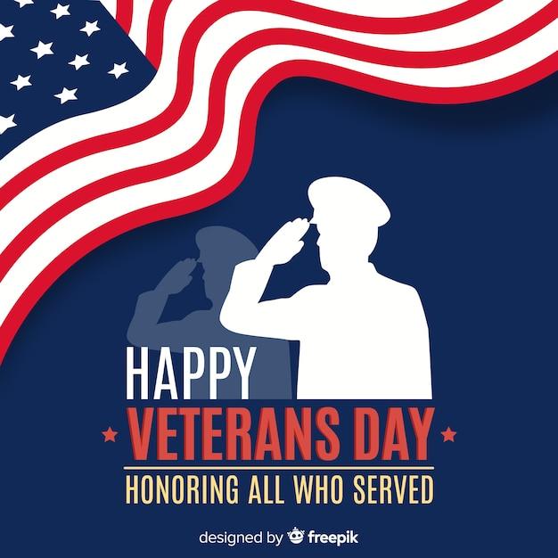 Composição do dia do veterano com silhueta de soldado Vetor grátis
