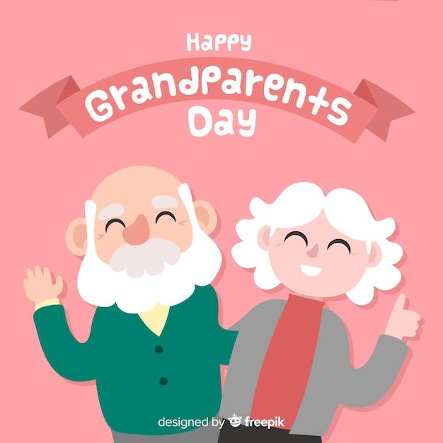 Composição do dia dos avós adoráveis com design plano Vetor grátis