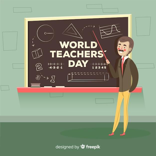 Composição do dia dos professores do mundo colorido com design plano Vetor grátis