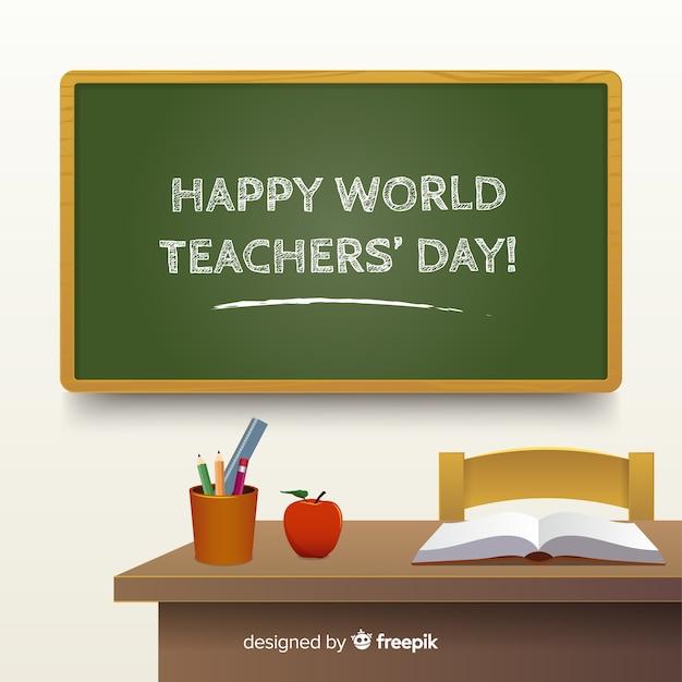 Composição do dia dos professores do mundo com design realista Vetor grátis