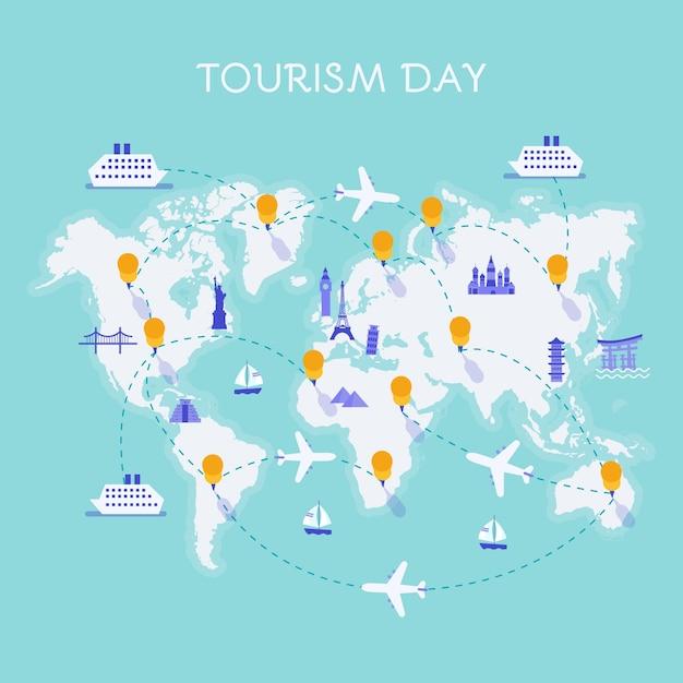 Composição do dia mundial do turismo moderno com design plano Vetor grátis