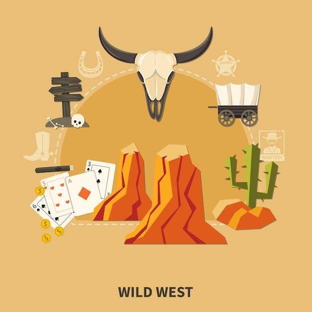 Composição do oeste selvagem Vetor Premium