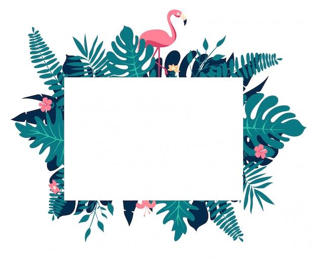 Composição do paraíso tropical, armação de borda retangular com espaço reservado para texto Vetor Premium