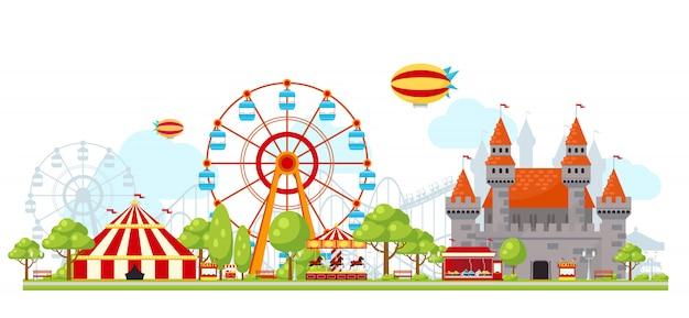 Composição do parque de diversões Vetor grátis