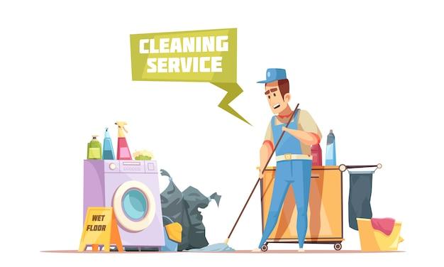 Composição do serviço de limpeza Vetor grátis