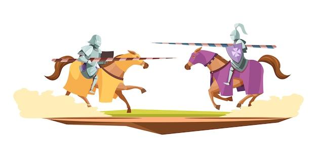 Composição dos desenhos animados do concurso de malhas medievais Vetor grátis