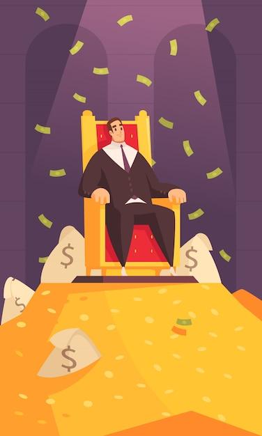Composição dos desenhos animados do símbolo de riqueza de homem rico com milionário no trono no topo da montagem de ouro, banhar-se em dinheiro Vetor grátis
