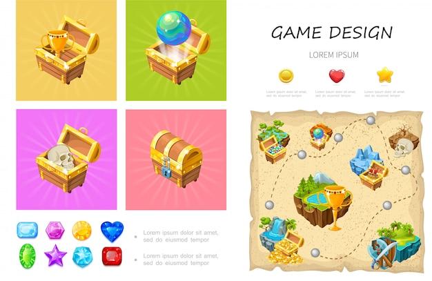 Composição dos desenhos animados jogo ui com crânio de globo copa em baús de tesouro pedras preciosas coloridas coração estrela círculo botões nível de design Vetor Premium