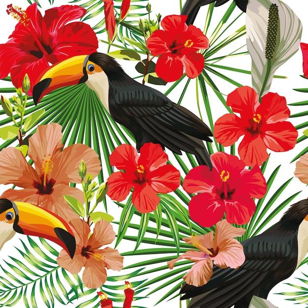 Composição exótica do pássaro tropical tucano folhas e flores de hibisco padrão sem emenda imprimir papel de parede do vetor selva Vetor Premium