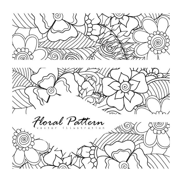 Composição floral com flor zentangle. Vetor grátis