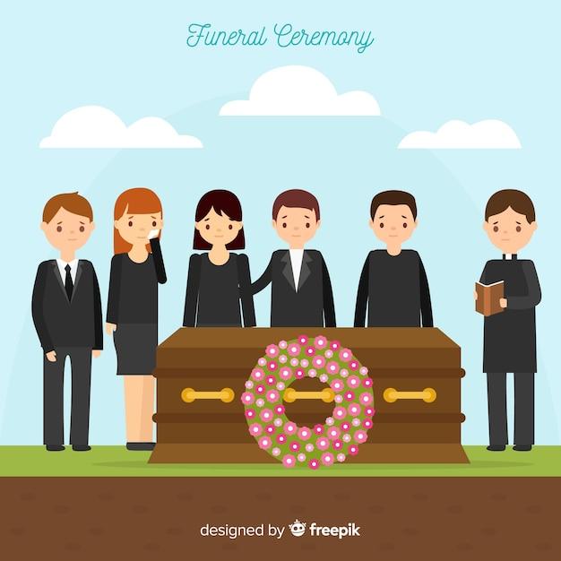 Composição fúnebre com design plano Vetor grátis