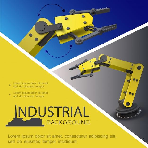 Composição industrial realista com braços robóticos automatizados em fundos azuis e cinza Vetor grátis