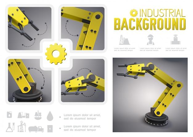 Composição industrial realista com braços robóticos mecânicos amarelos e ícones da indústria de petróleo Vetor grátis