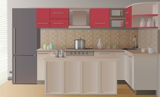 Composição interior de cozinha Vetor grátis