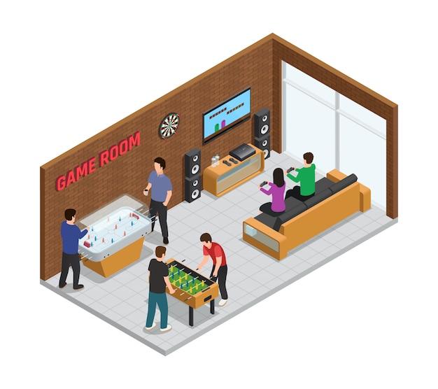Composição interior do clube de jogo em casa isométrica aconchegante sala para relaxamento Vetor grátis
