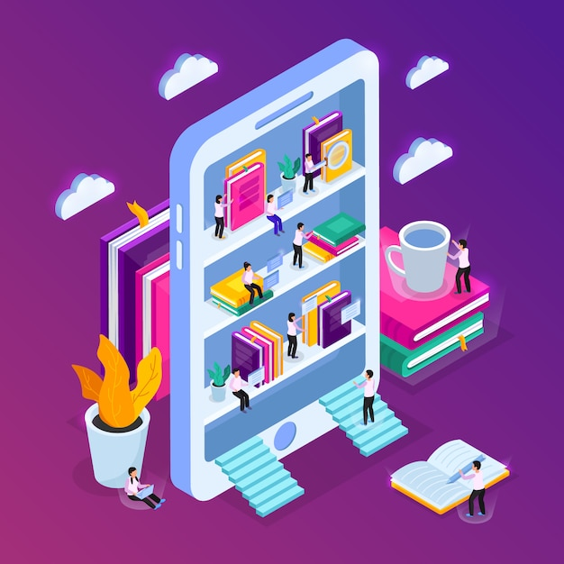 Composição isométrica da biblioteca on-line com imagem de smartphone com prateleiras de livros e pessoas pequenas com nuvens Vetor grátis
