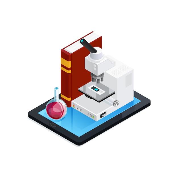 Composição isométrica da ciência online Vetor grátis