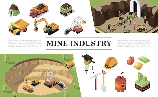 Composição isométrica da indústria de mineração com trabalhadores de caminhão pesado de escavadeira de máquina de pedreira mina pedras preciosas martelo broca martelo picareta dinamite pá árvores Vetor grátis