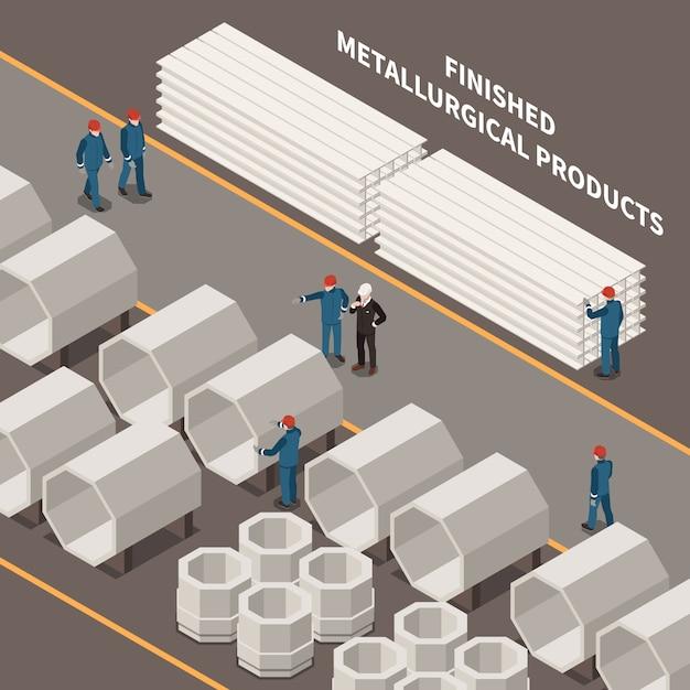 Composição isométrica da indústria metalúrgica com trabalhadores e produtos metalúrgicos ilustração em vetor 3d Vetor grátis