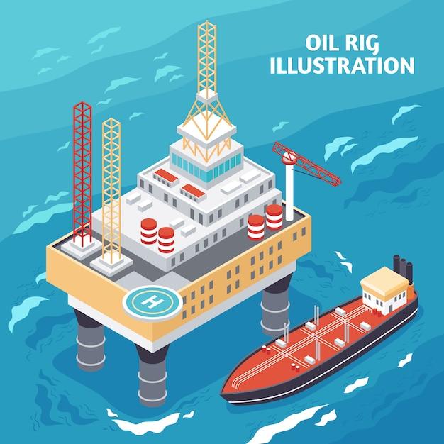 Composição isométrica da indústria petrolífera Vetor grátis