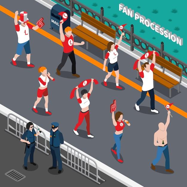Composição isométrica da procissão dos fãs de esportes Vetor grátis