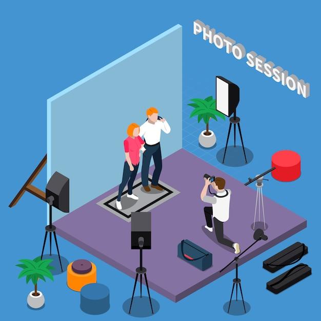 Composição isométrica da sessão de fotos Vetor grátis