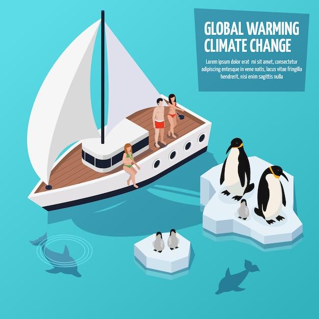 Composição isométrica das alterações climáticas Vetor grátis