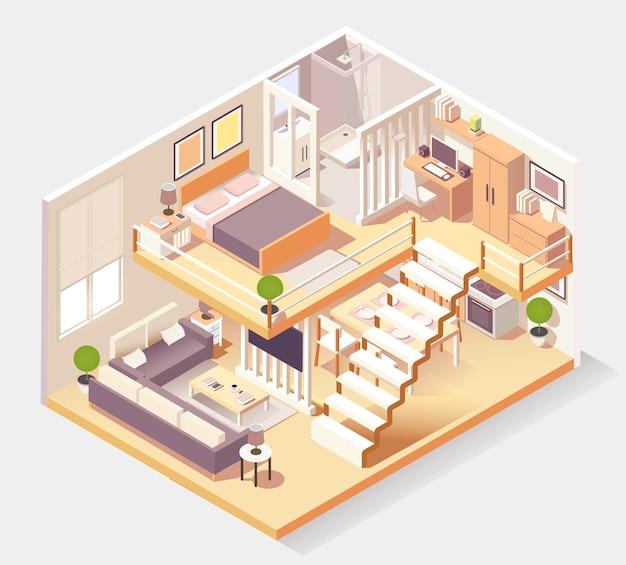 Composição isométrica das diferentes salas da casa Vetor Premium