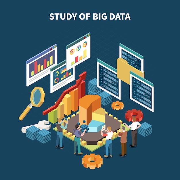 Composição isométrica de análise de big data com estudo de big data e ilustração de elementos isolados de estatísticas Vetor grátis