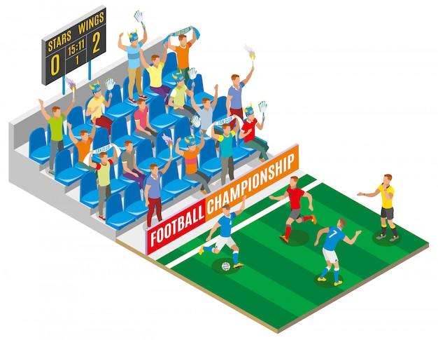 Composição isométrica de campeonato de futebol com espectadores no estádio tribune gamers no campo e placa com pontuação de partida Vetor grátis