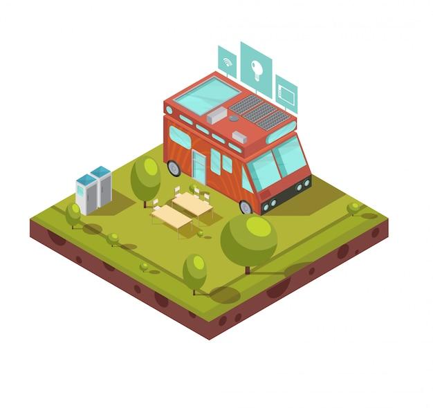 Composição isométrica de casa móvel, incluindo van com acampamento de baterias solares de wi-fi e tecnologias ícones ilustração vetorial Vetor grátis