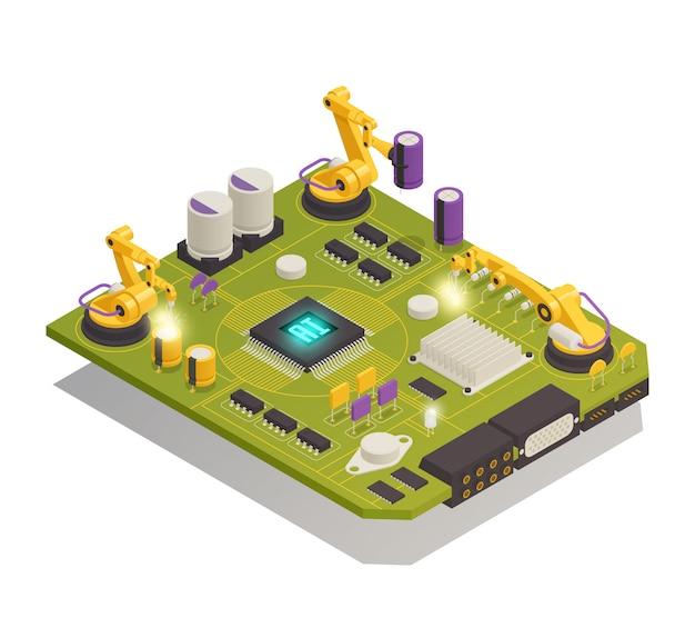 Composição isométrica de componentes eletrônicos de semicondutores Vetor grátis