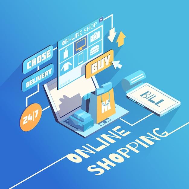 Composição isométrica de compras on-line Vetor grátis