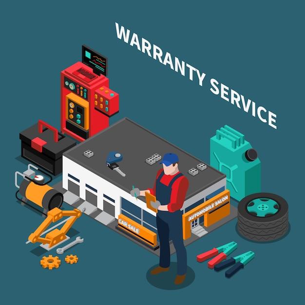 Composição isométrica de concessionária de automóveis com construção de serviço de garantia e caráter de reparador com instrumentos e texto Vetor grátis